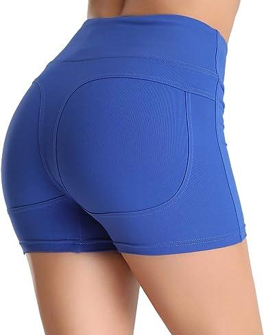 Puimentiua Short de Sport pour Femme Pantalons De Yoga avec Poches Latérale Legging Court Taille Haute Fitness Course Jogging Gym (S XL)