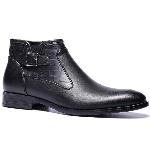 Botines para Hombre De Cuero Genuino Botas Martin De Color Sólido Clásicas Espesar Botas De Chukka Zapatos Altos Casuales: Amazon.es: Zapatos y complementos