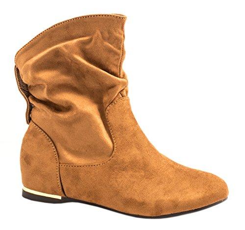 Elara Damen Schlupfstiefel | Bequeme Klassiche Stiefeletten | Flache Boots Camel New -