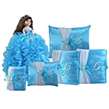Complete Quinceanera Doll Set with Matching Album Guest Book Pillow Bible Q1043 (Add arch to doll + English bible)