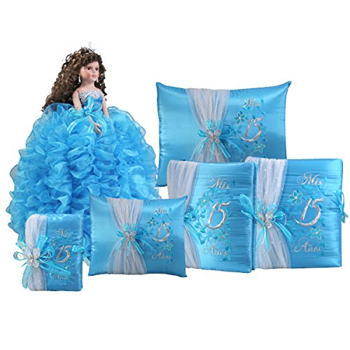 Complete Quinceanera Doll Set with Matching Album Guest Book Pillow Bible Q1043 (Add arch to doll + English bible) by Quinceanera