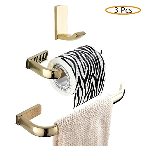 WINCASE 3 Pieces Bathroom Accessories Set of Robe Hook, Toilet Paper Holder and Towel Ring made of Brass Wall Mounted Polished Gold finished by WINCASE