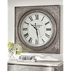 Ashley Furniture Signature Design - Pelham Wall Clock - Casual - Antique Silver Finish