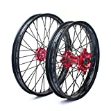 TARAZON Front 21'' Rear 18'' Wheel Complete Set Red Hubs Rims Spokes for Honda CRF250R CRF450R 2014 2015 2016 2017 CRF 250 450 R