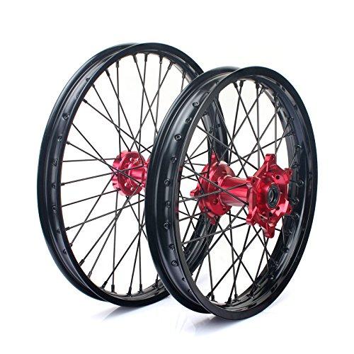 TARAZON 21'' 18'' Off-road Complete Wheel Set Rims Spokes Red Hubs for Honda CRF250R 04-13 CRF450R 04-12 CRF 250X 450X 04-16 by TARAZON