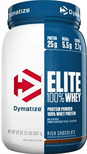 Dymatize Nutrition Elite 100% Whey Protein - Rich Chocolate 2 lbs (907 grams) Pwdr (Protein Powder Dymatize Whey Elite)