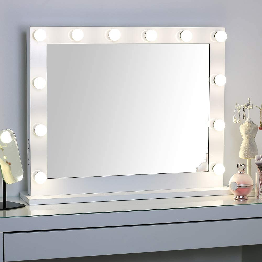 MissMii Hollywood Lighted Vanity Mirror with Lights,Dressing Table Makeup Mirror with Dimmable LED Bulbs,Tabletop or Wall Mounted Vanity with Dimmer,2 USB Ports 2 Power Outlets