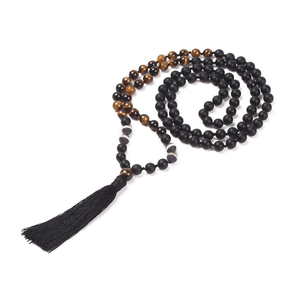 GVUSMIL 108 Mala Beads Meditation Necklace/Natural Gemstone Jewelry/Mala Beads Necklace/Buddha Necklace - Buddhist Prayer Beads/Tassel Necklace (Black Matter)