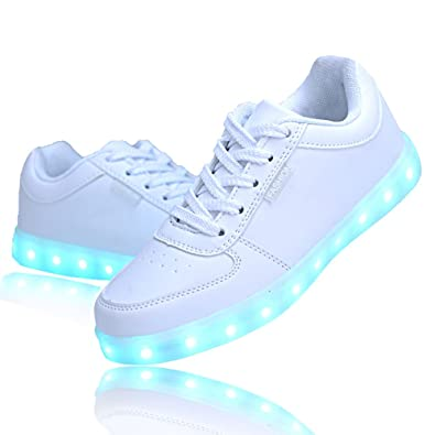 ea087441db79 QOUJEILY Unisex LED Shoes Light Up Shoes USB Charging Sneakers (7 UK   41  EU