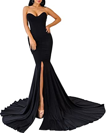 c55e62698a5b8 Womens Strapless Asymmetric Slit Front Evening Party Wedding Maxi Dress