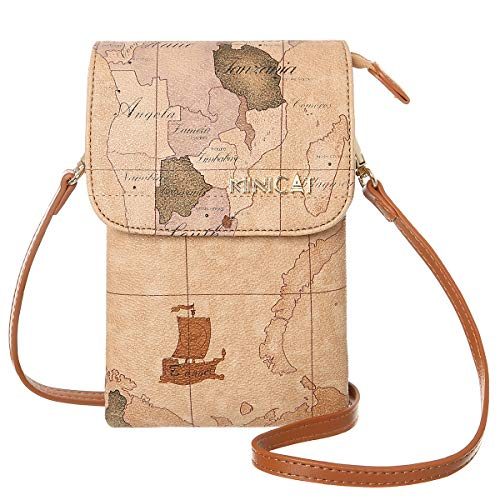MINICAT World Map Series Synthetic Leather Small Crossbody Bags Cell Phone Purse Wallet Smartphone Bags For Women (Map.)