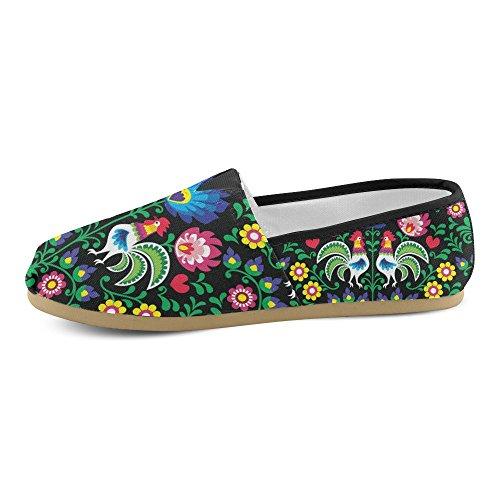 D-histoire Fashion Sneakers Appartements Sans Couture Polonais Folk Art Modèle Avec Coqs Womens Classique Slip-on Chaussures Mocassins