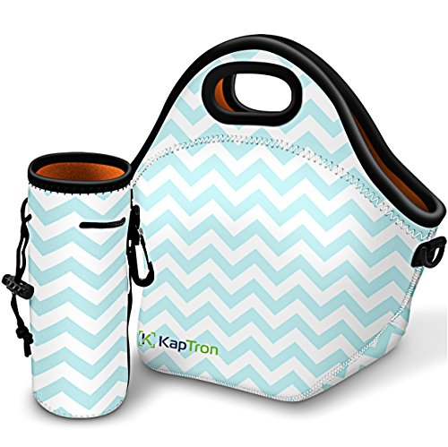 Kaptron Neoprene Lunch Bag, Thick insulated Lunch Tote Lunch Box Bag with Shoulder Straps and Bottle Holder/Cover for adults, women, girls, school children - Suitable for Travel, Picnic, Office Bottle Lunch Box