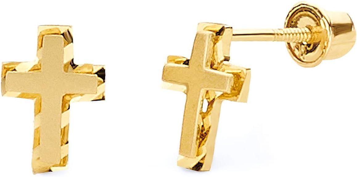Details about  /14K Yellow Gold Cross Cubic Zirconia Stud Screwback Earrings