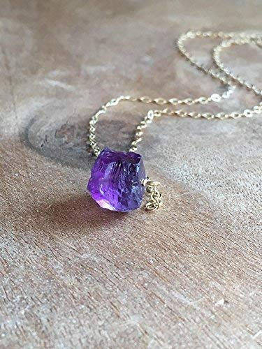 - Raw Amethyst Necklace 18 Inch Sterling Silver February Birthstone Jewelry Gift For Women