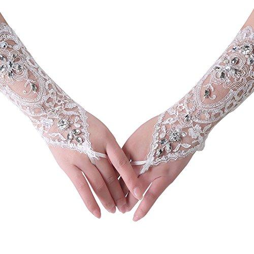 Dressy New Star Beautiful Bride Lace Wedding Gloves Sparkling Diamond White Medium