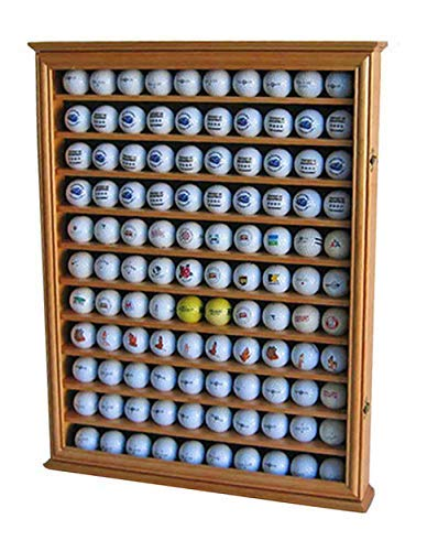 - 110 Golf Ball Display Case Wall Cabinet Holder Shadow Box, Solid Wood (Oak Finish)