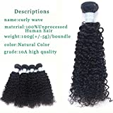 Yrenrea hair Brazilian Curly Wave Virgin Hair 3 bundles 100% Unprocessed Human Hair bundles Extensions Natural Color 10A Grade (8) Review