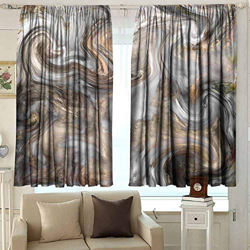 Marble 99% Blackout Curtains Retro Style Paintbrush Colors in Marbling Texture Watercolor Artwork for Bedroom Kindergarten Living Room W52 x L36 Inch Sand Brown Dust Light Grey