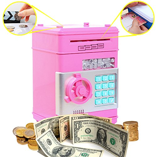 Coin Bank for Kids,Kpaco Code Electronic Money Banks,Mini ATM Coin Password Box Saving Banks,Baby Toys Gifts Birthday Gifts for Kids - Pink by Kpaco