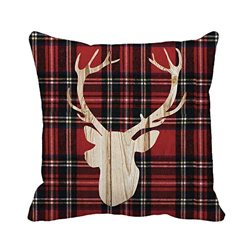 (Awowee Throw Pillow Cover Antler Flannel Deer Head Buffalo Plaid Cabin Christmas Lumberjack 18x18 Inches Pillowcase Home Decorative Square Pillow Case Cushion Cover)