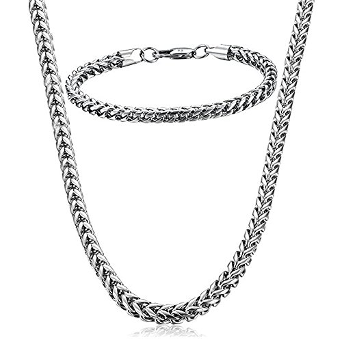 Potok Stunning Mechanic Style Stainless Steel Silver Mens Necklace Link Chain Necklace Bracelet Jewelry Set, 6mm in Width, Bracelet 8.5 and Necklace 24 Set