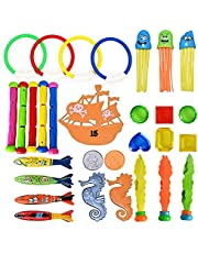 Diving Pool Toys,Underwater Swimming Diving Pool Toys Set Includes Diving Rings,Shark Missile,Seahorse Toys,Pirate Ship,Pirate Treasures,Seaweed Toys