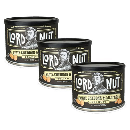 Lord Nuts Levington White Cheddar and Jalapeno Peanuts Certified Kosher 24 oz 3 pack(Dairy)
