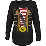 Old Glory Halloween Pirate Costume Black Maternity Soft Long Sleeve T-Shirt - X-Large