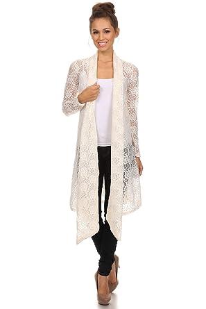 Langarm Maxi Cardigan aus Spitze, Boho Style Strickjacke, Crochet ...