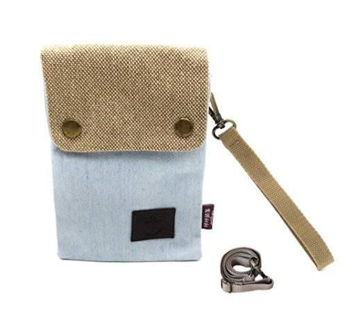 Cute Small Mini Double Pockets Crossbody Shoulder Messenger Bag Cell Phone Pouch Travel Purse Wallet Beige