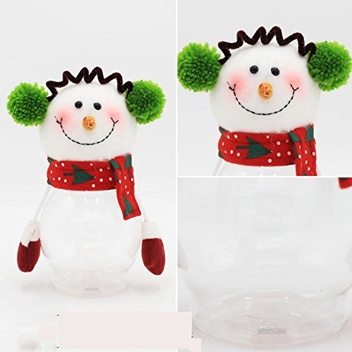 Adeeing Snowman Christmas Round Candy Packaging Boxes Bags Gift PET Christmas Cookie/Candy Jar (Candy Jars For Sale compare prices)