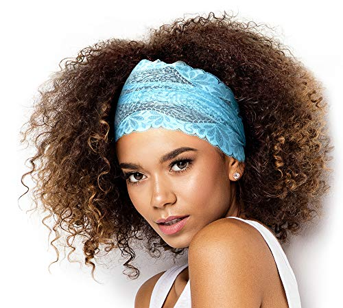 ShariRose Stunning Stretch Wide Floral Lace Headbands in Many Beautiful Colors Handmade (Turquoise -