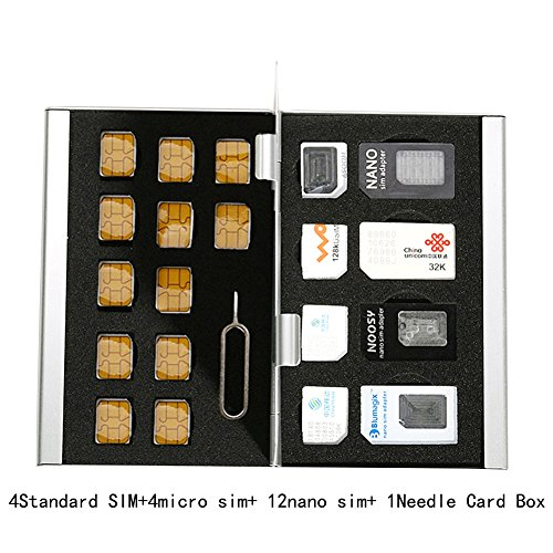 Myymee 4 Standard SIM Card Holders + 4 Micro Sim Card Holders+ 12 Nano Sim Card Holders,Metal Aluminum alloy SD Card Holder Case Mobile Phone Memory Card Storage Box Black