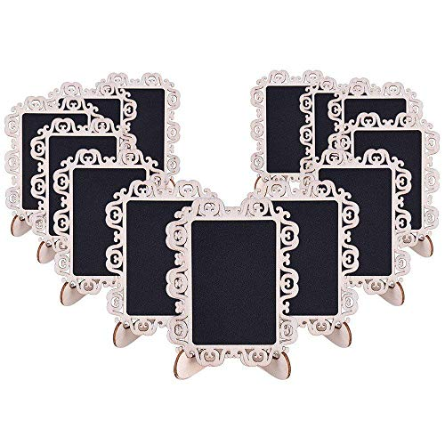 AUSTOR 14 PCS Mini Chalkboard Signs with Decorative Boarder and Stand for Weddings Place Cards, Parties, Message Board Signs and -