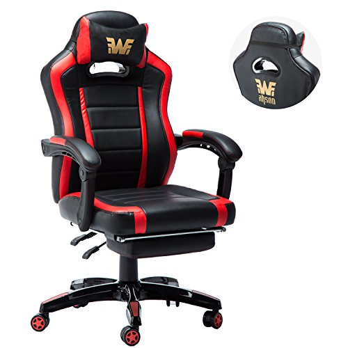 Adjustable Armrests Home Office Desk Chair With Footrest, Back Embroider  Racing Style Snap Recliner, ...