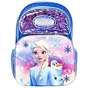 Disney Frozen II Elsa & Olaf Full Size 16 Inch 3D Backpack with Sequins