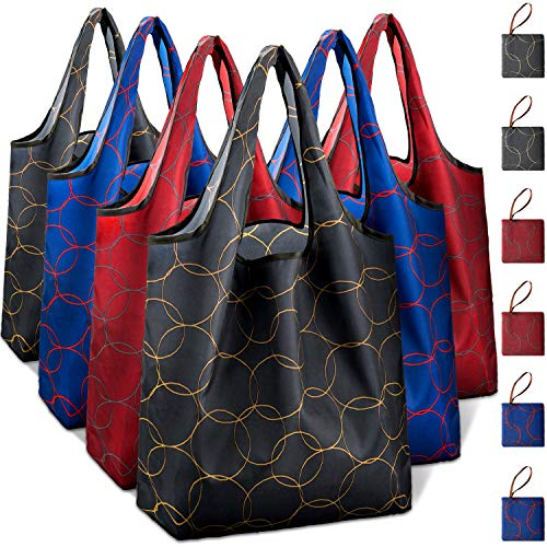 Reusable Grocery Shopping Bags Foldable with Pouch, Heavy Duty Nylon Cloth Reusable Bags for Groceries, Shopping Trip (Circle-bestrewn, 6-pcs)
