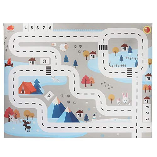 Sacow Kids Play Mat, City Road Buildings Parking Map Game Scene Map Educational Toys