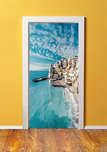 Multi Italian Charm - Farm House Decor 3D Door Sticker Wall Decals Mural Wallpaper,Panorama of Old Italian Fish Village Beach Old Province Coastal Charm Image,DIY Art Home Decor Poster Decoration 30.3x78.12500,Turquoise