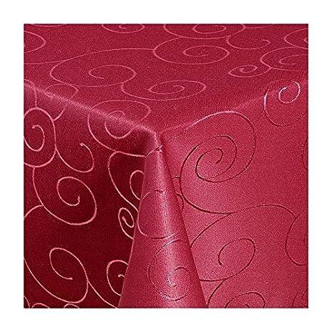 TEXMAXX Damast Tischdecke Ma/ßanfertigung im Ornamente-Design in terrakotta 120x100 cm eckig weitere L/ängen sind w/ählbar