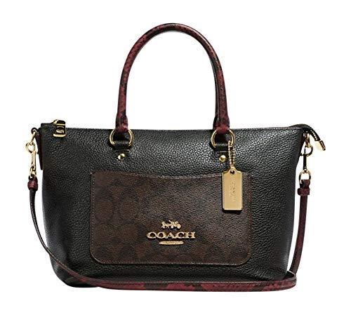 COACH Snake Signature Leather Mini Emma Satchel Crossbody Bag Purse BLACK BROWN F34281