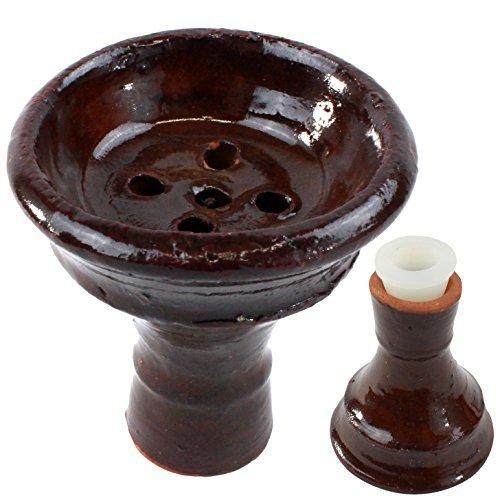 Enimay Shisha Ceramic Hookah Clay Bowl Tobacco Head Large Dark Brown by Enimay