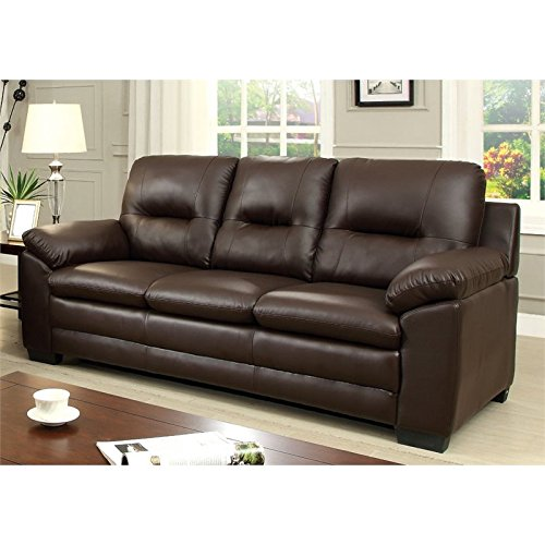 Furniture Of America Pallan Leather Tufted Sofa In Brown Best Sofas Online Usa