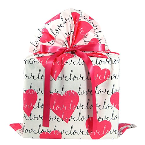 Love and Hearts Romantic Fabric Gift Bag for Valentine's Day, Wedding or Anniversary Gift (Large 20 Inches Wide by 27 Inches High)