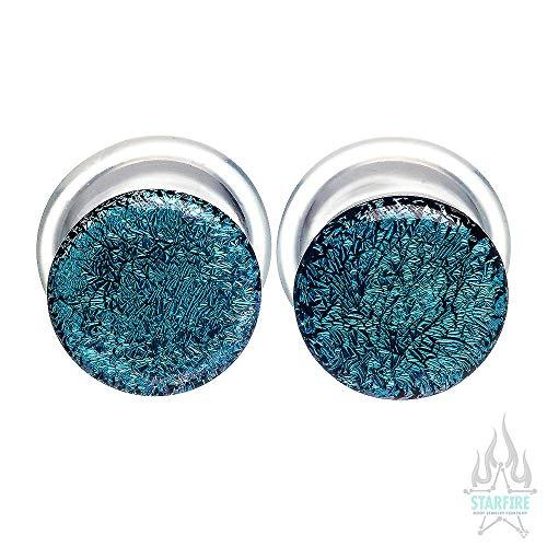 Buddha Jewelry Organics Single-Flared Glass Dichro Plugs - Aqua, 9/16