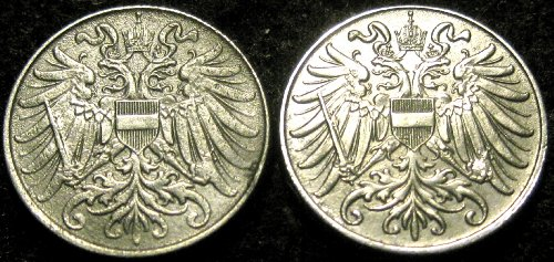 Vienna Mint Austria World War I 1916 & 1918 2 Heller Coins
