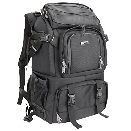 Evecase Extra Large Professional DSLR Camera & Laptop Travel Backpack Gadget Bag w/Rain Cover for Digital Cameras, 14 inch Laptop, Tablet, Lens Kit for Full Frame Mirrorless Digital Camera