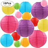 "#9: LURICO 16 Pcs Colorful Paper Lanterns (Multicolor,size of 4"", 6"", 8"", 10"") - Chinese/Japanese Paper Hanging Decorations Ball Lanterns Lamps for Home Decor, Parties, and Weddings"