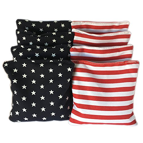 American Stars and Stripes Cornhole Bags (Set of 8) - Official Size & Weight - USA Red White and Blue - Bonus Tote Bag ()